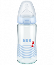 NUK First Choice Plus Glass Baby Bottle 240ml with silicone teat blue